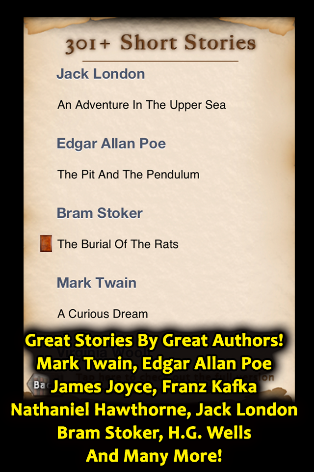 Great Stories By Great Authors Mark Twain, Edgar Allan Poe, James Joyce, Jack London, Bram Stoker, H.G. Wells and more