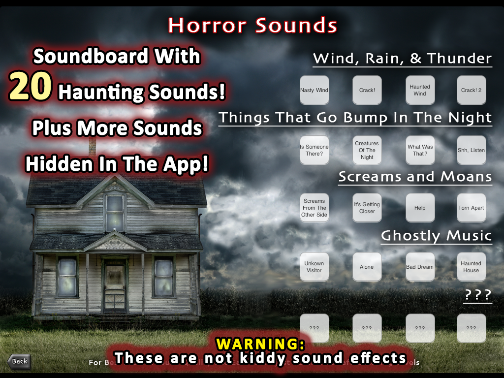 Haunting Sound Effects A soundboard with 40 creepy sounds, plus more that are hidden