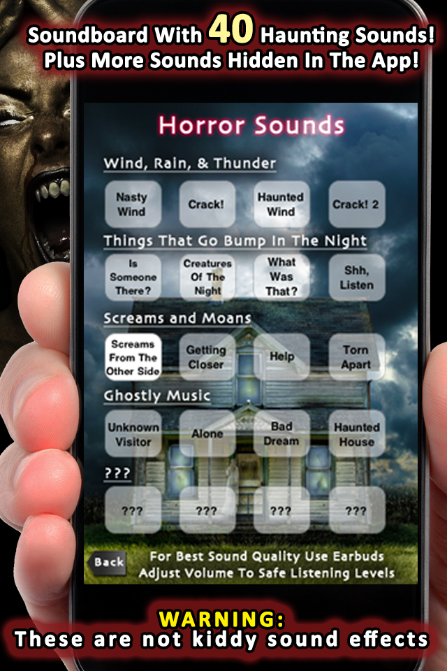 Haunting Sound Effects A soundboard with 40 haunting sounds, plus more that are hidden